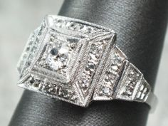 Vintage Deco Diamond Ring Antique Platinum Mine by BelmarJewelers