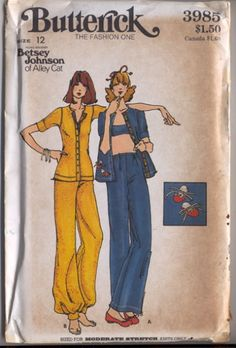 Butterick 3985 Vintage Sewing Pattern FUN Casual Young Designer Betsey Johnson of Alley Cat Knits Button Up Cuffed Shirt Jacket Top, Wide Leg Pants, Genie Harem Ankle Band and Tennis Shoe Booties Appliques Vintage Dress Patterns, Clothing Patterns, 70s Fashion, Vintage Fashion, Patron Vintage, Fashion Corner, Retro Pattern, Fashion Sketches, Pattern Fashion