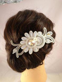 Items similar to Headdress Soutache Flower on Etsy Fabric Jewelry, Hair Jewelry, Boho Jewelry, Wedding Jewelry, Fashion Jewelry, Bar Earrings, Tassel Earrings, High Fashion Makeup, Soutache Necklace