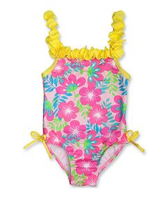 This Yellow & White Floral Ruffle One-Piece - Infant, Toddler & Girls by Penelope Mack is perfect! #zulilyfinds