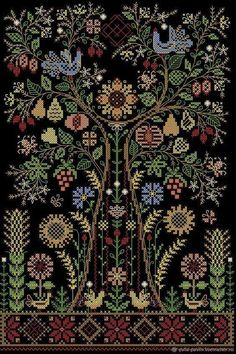 Buy Talisman-Tree Of Life. The scheme for embroidery - birds embroidery flowers Cross Stitch Sampler Patterns, Needlepoint Patterns, Cross Stitch Samplers, Cross Stitch Designs, Cross Stitching, Blackwork Embroidery, Folk Embroidery, Vintage Embroidery, Cross Stitch Embroidery