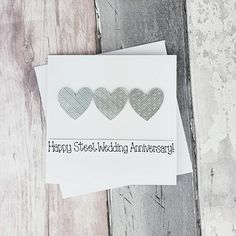 11th anniversary card Steel wedding anniversary card | Etsy Happy Anniversary Husband, Anniversary Cards For Wife, 11th Wedding Anniversary, Baby Girl Cards, New Baby Cards, Your Cards, Congratulations Card, Heart Cards, Sell On Etsy
