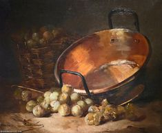 """Art Artwork Painting: """"Cauldron and Plums,"""" a painting by Alfred Brunel de Neuville. Art Tutorials Watercolor, Painting Still Life, Art Painting, Oil Painting Gallery, Art Masters, Copper Art, Still Life Oil Painting, Artwork Painting, Still Life Drawing"""