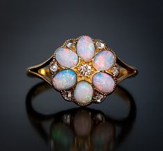 Antique Opal Flower Ring c. 1900