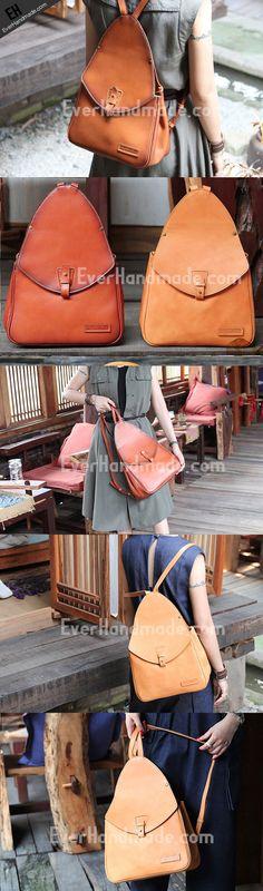 Handmade Leather backpack bag shoulder bag camel orange