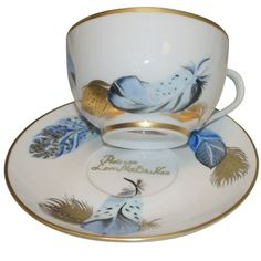 Limoges Porcelain Cup and Saucer from Vivaldi Collection - Winter Feathers