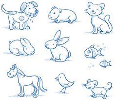 Cute set of pets, dog, cat, horse, bunny, hand drawn vector