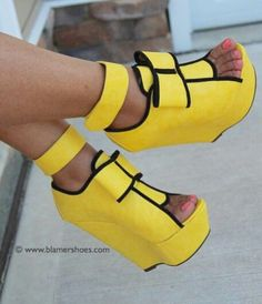 Like, are these even real? B/c I would totally rock these if they are! <3 Yellow Platform Wedge Heels #wedges #heels #platform