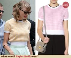 Taylor Swift's yellow houndstooth sweater. Outfit Details: http://wwtaylorw.com/3097