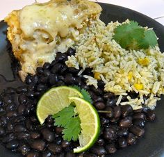 leafy chile chicken enchilada casserole with cilantro lime rice and black beans