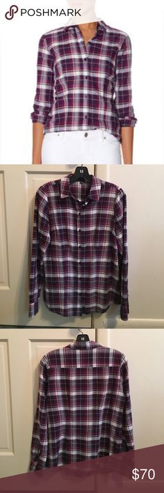 """The Limited Purple and White Plaid Button Down Purple and white plaid button down from The Limited. Size is XS. Bust measures approximately 36"""". Shirt length measures approximately 26"""". Worm a number of times and still in excellent condition. The Limited Tops Button Down Shirts"""