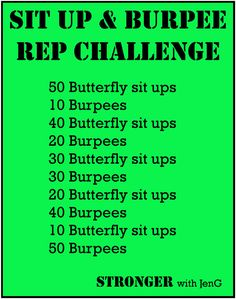 Rep Challenge 7 - 400 Reps Sit Ups & Burpees Burpee Challenge, Month Workout Challenge, Workouts, Exercises, Sit Up, Burpees, Health And Wellbeing, Fitspiration, Health Fitness