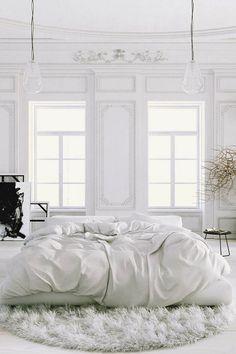 La chambre blanche. C'est très relaxant et jolie