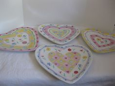 J Willfred Charles Sadek Sweet Hearts Heart Shaped Plates Multi Color Set of 4 & Juliska Berry and Thread Ruby Heart Cocktail Set/4 | Things I Love ...