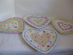 "J Willfred Charles Sadek Sweet Hearts Heart-Shaped Plates, Multi-Colored, 9"" x 8"". $30.00/Set of 4 at grmmr15 on ebay, 8/6/16"