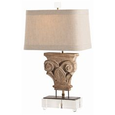 """<p>Natural Linen Shade/Smoke Gray Cotton Lining/1"""" Trim</p> <p>Dimensions: H: 23 1/2'' • 9/13'' Rect</p> <p>Description: Avignon Hand Carved Solid Wood Fragment/Iron/Acrylic Lamp</p> <p>Material: Iron/Wood</p> ,Avignon Hand Crvd Solid Wd Frg/Irn/Acr Lmp, Arteriors, Lisa Luby Ryan, Lamp, Table"""