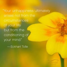 """Your unhappiness ultimately arises not from the circumstances of your life but from the conditioning of your mind.""   ~Eckhart Tolle  Please 'Share and/or re-pin' this week's #‎PresentMomentReminder:  To receive automatic reminders from Eckhart Teachings, feel free to sign up here: http://www.eckharttolle.com/present-moment-reminders"
