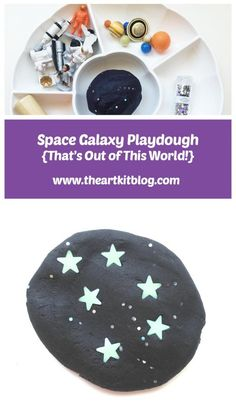 Space Galaxy Space Galaxy Playdough {Invitation to Play} via - Space galaxay playdough with glowing stars and sparkling glitter is sure to become a favorite invitation to play! Make this an educational experience by reading There's No Place Like Space. Space Activities, Educational Activities For Kids, Creative Activities, Preschool Crafts, Toddler Activities, Preschool Activities, Art For Kids, Crafts For Kids, Family Crafts