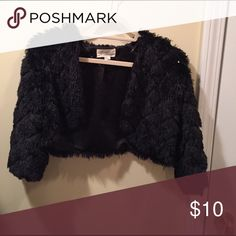 Shrug Black faux fur and sequence shrug to compliment your dress for that big night out Forever 21 Sweaters Shrugs & Ponchos