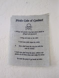 9-18-14 Art 1 POD (Project of the Day) Pirate Code of Respectable Conduct