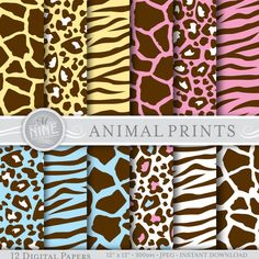 "SOFT ANIMAL PRINTS Digital Paper Pattern Prints, Instant Download, 12"" x 12"" Variety of 12 Patterns Backgrounds Scrapbook Print"