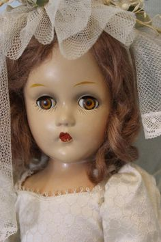 Early Composition 15  Madame Alexander Wendy Ann Bride Doll Painted Original!