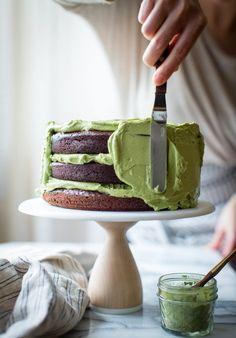 Chocolate Zucchini Layer Cake with Matcha Cream Cheese Frosting {gluten-free}