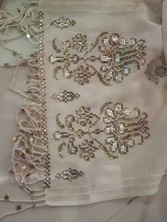 This Pin was discovered by Ayş Embroidery Patterns Free, Embroidery Stitches, Hand Embroidery, Hardanger Embroidery, Creative Embroidery, Cross Stitch Borders, Gold Work, Weaving Patterns, Rose Gold