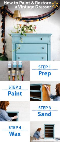 Turn a drab old dresser into a colorful, one-of-a-kind showpiece in just a few steps! You can do this easy and affordable project over a weekend. To get started, you'll need a jar of Waverly Chalk Paint and a jar of Waverly Inspirations Clear Wax, some new drawer pulls, and paint tools like brushes, putty spatula, fine grit sandpaper, painter's tape & wood filler. You can pick everything you need for this and get inspiration for more fun and crafty projects at Walmart.