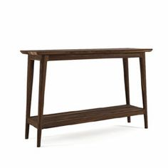 This narrow console table with a low shelf is built in solid walnut wood. It is finished with a penetrating Danish oil.