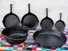 Cooking with Cast Iron {tips} - I use cast iron a lot. A friend of my mother's gave me a BIG biscuit pan when my grown-up children were little, and the other pieces I bought from an aunt at a garage sale. I'm in the process of trying to find a larger dutch oven.
