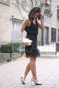 NYE outfit, feathered dress, holiday outfit, REVOLVE x SU2C, LBD, little black dress