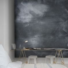Blackboard wall mural from rebel walls Interior Walls, Interior And Exterior, Interior Design, Blackboard Wall, Chalk Wall, Chalk Board, Magazine Deco, Wall Wallpaper, Swedish Wallpaper
