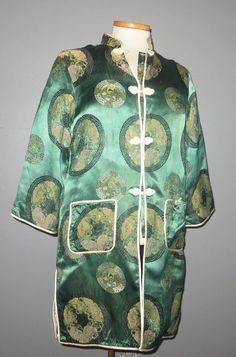 Vintage 60s Chinese Style Silk Brocade Coat Jacket Rob | eBay