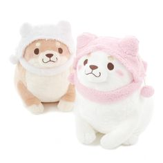 """Sakura and Ume are both bundled up and ready for winter in their adorable and stylish hats! The beloved cutie pies of the Chuken Mochi Shiba series are also each massive at a height of 15.8"""" for the Yukinko Pompom Plush Collection making them perfect for cuddling up with, complete with their sweet little cheeks~"""