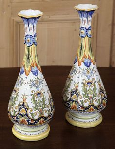 Antique Country French Vases from Rouen | Antique Faience | Inessa Stewart's…