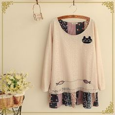 Buy Fairyland Cat Embroidered Mock Two Piece Blouse at YesStyle.com! Quality products at remarkable prices. FREE WORLDWIDE SHIPPING on orders over US$35.
