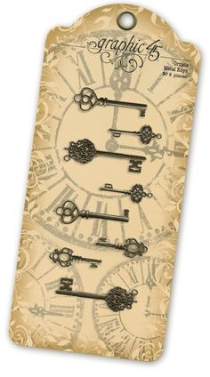 New Graphic 45 Staples - Ornate Metal Keys! In stores early September! #graphic45 #sneakpeeks #CHA