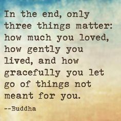 """""""In the end, only three things matter: how much you loved, how gently you lived, and how gracefully you let go of things not meant for you."""" ∞ Buddha #quote"""