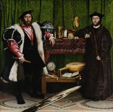 Hans Holbein, The Ambassadors. A very detailed image of this amazing painting is available at Wikipedia.