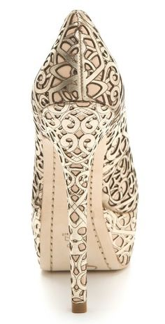 Alice + Olivia gold weddings, fashion shoes, wedding shoes, girl fashion, laser cutting, heel, pump, silver shoes, gold shoes