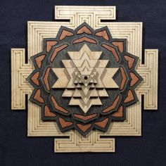 Sri Yantra, 8 Layered, stained red, black and natural Deer Stencil, Hindu Worship, Shri Yantra, Sacred Geometry Symbols, Chakra Art, Pooja Room Design, Beautiful Rangoli Designs, Wooden Hangers, Wooden Art
