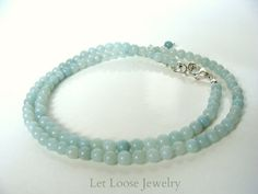 Amazonite necklace genuine gemstone strand pale by LetLooseJewelry