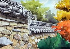 [풍경수채화] 고궁의 가을 (공생) - 수채화 과정 : 네이버 블로그