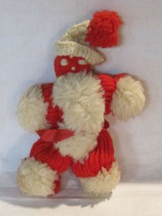 Vintage yarn Santa ornament or decoration