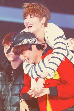 #TaeKai moment at Dream Concert. Lee Taemin SHINee jump onto Kim Jongin Kai EXO-K 's back and they ran together <3