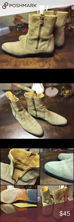 "Hogan Vintage Woman's Suede Ankle/Calf Booties 9.5 Gorgeous pair of Italian made Hogan Beige Ankle/Calf Boots. Rare find! These boots are used and have two zippers on each boot for easy access. There are a few scuffs on the suede I've tried to show in photos.  The inside is lined with soft buttery leather and the outside has accent stitching. I wish they were my size! Heel is 1"" and intact. Thanks for looking!  Size is European 40 = US 9.5 -10 Hogan Shoes Ankle Boots & Booties"