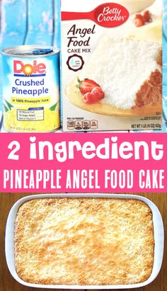 Pineapple Angel Food Cake Recipe! Easy Dessert that's perfect for Summer!  Plus... with just 2 ingredients, it's one of the EASIEST treats you'll ever make.  Go grab the recipe and give it a try this week! Angle Food Cake Recipes, Cake Mix Recipes, Fruit Recipes, Sweet Recipes, Dessert Recipes, Cooking Recipes, Recipies, Easy Summer Desserts, Easy Desserts