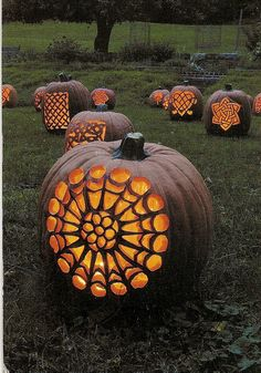 Beautiful pumpkin lanterns in the field at dusk. Reminds me of a special time and place from years ago.
