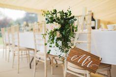 Chair Back Decor | Marquee Reception | Blush Colour Scheme | Frances Sales | http://www.rockmywedding.co.uk/victoria-joel/